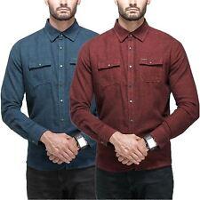 100 UOMO COTONE MANICA LUNGA plain shirt POINT Zero Casual Eleganti Top S-XXL RRP 60