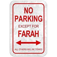 "No Parking 8"" x 12"" Plastic Sign Names Female Fa-Fl"