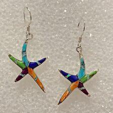 Sterling Silver Handmade Multi-Stone Inlay Turquoise Opal Starfish Hook Earrings