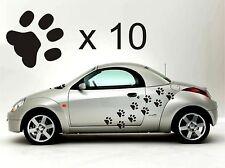10 Paw Print Pared O Auto Adhesivos Cualquier Color Perro extraíble Arte 4x4 Aseo Para Mascotas
