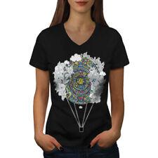 Wellcoda Aztec Ornament Vintage Womens V-Neck T-shirt, Air Graphic Design Tee