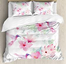Hummingbirds Duvet Cover Set with Pillow Shams Flowers Wild Nature Print