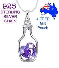 Crystal Love Heart Drift Floating Bottle Pendant Necklace 925 Sterling Chain New