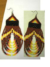 seed beaded earrings looped  RUST  and  navaho   /teardrop