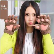 Women Girl Bear's Paw Cat Paw Glove Mitten Furry Thick Half Finger Mitt Gloves L