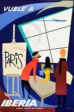 PLAQUE ALU DECO AFFICHE VUELE A PARIS IBERIA ESPANA LINEAS AEREAS AVION AEROPORT