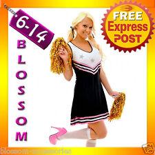 F73 Ladies Sport Cheerleader School Girl Fancy Dress Up Costume Outfit + Pom Pom