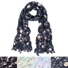 Premium Embroidered Floral Dainty Tassel Hem Scarf Wrap Shawl