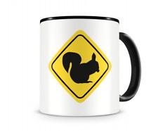 Eichhörnchen Warnschild Tasse Kaffeetasse Teetasse Kaffeepott Kaffeebecher