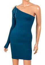 Ladies Cerulean Blue 1-Shoulder Knitted Sequin Mini Dress Top Women Sizes UK S-L