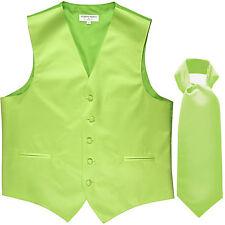 New Men's Formal Tuxedo Vest Waistcoat solid & Ascot cravat Lime Green Prom