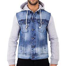 Felpa con cappuccio Con cappuccio Da Uomo Giacca di jeans Stonewash Maniche in Maglia S M L XL 2XL 3XL 4XL jsè