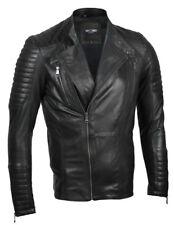 Mens Slim Fit Classic Real Leather Black Motorbike Biker Jacket Shoulder Padding