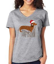 DACHSHUND THROUGH THE SNOW Christmas carol gift dog lover Women's V-neck T-Shirt