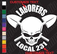 SKILLED UNION SKULL LABORERS CONSTRUCTION customizable vinyl decal sticker