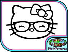 Hello Kitty K Vinyl Sticker Car Bike Geek Cute Glasses Fun Wall Art Poster Decal