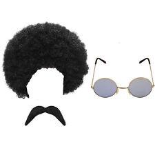 Década de 1970 & década de 1960 hombres Hippy Hippie Peluca Bigote & Gafas de sol vestido elegante conjunto