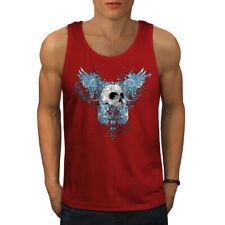 Wellcoda Wings Goth Biker Skull Mens Tank Top, Angel Active Sports Shirt
