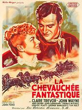REPRO AFFICHE LA CHEVAUCHEE FANTASTIQUE JOHN WAYNE COW BOY PAPIER 310 OU 190 GRS