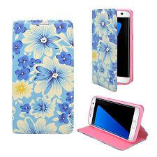 Samsung Galaxy S7 Edge Azul Blanco Flor Funda de cuero de PU Gadget Boxx
