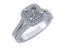 1.10Ct Princess Diamond Double Halo Split Shank Bridal Engagement Ring 14k Gold