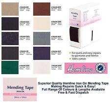 Hemline Reparación Cinta de hierro en reparación 38mm 100% algodón todos colores y longitudes