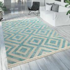 Outdoor Teppich Blau Weiß Balkon Terrasse Rauten Muster Skandinavisches Design
