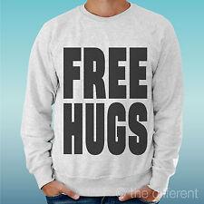 """FELPA UOMO LEGGERA SWEATER GRIGIO CHIARO GREY"""" FREE HUGS ABBRACCI GRATIS """""""