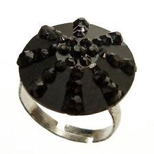 Bague NOIRE gothique Cabochon Strass ajustable réglable Taille 54 56 58 60 62 64