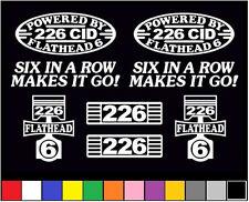 8 DECAL SET 226 CID INLINE FLATHEAD 6 ENGINE STRAIGHT SIX EMBLEM VINYL STICKERS