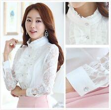 Women Ruffle Collar Lace Shirt Falbala Chiffon Long Sleeve Work Slim Fitted Top