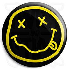 Nirvana Smiley - Button Badge - 25mm Grunge Badges with Fridge Magnet Option