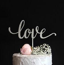 Love Cake Topper Elegant Script Calligraphy Wedding Gold Silver Glitter