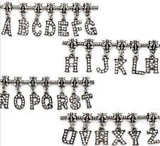 Letra del alfabeto Rhinestone Bead Fits para mujeres y chicas encanto collar y pulseras