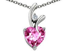 Mujer Bonito 7mm Or 9MM Forma de Corazón Zafiro Rosa Colgante Sólido 14K Oro