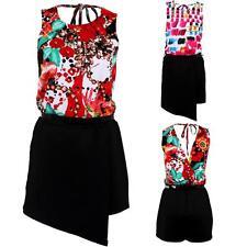 Ladies Sleeveless Floral Print Cross Back Wrap Belted Skort Smart Playsuit