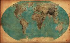 Vintage, Retro World Map (1930`s) Poster Print  A0-A1-A2-A3-A4-A5-A6-MAXI 142