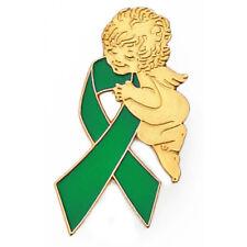 PinMart's Green Awareness Ribbon Religious Spiritual Angel Enamel Lapel Pin