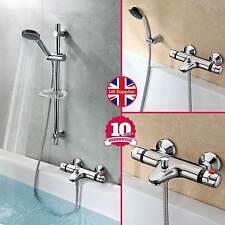 De Pared Cromado montado baño termostático ducha mezclador + Riser Kit / 3 modo de auricular