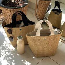 Ladies Rattan Handbags Summer Beach Straw Bag Wicker Woven Large Tote Bucket Bag