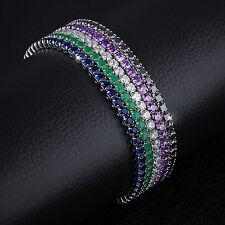 Damen Armband Zirkonia 15-25 cm verstellbar Lila blau grün schwarz klar Armkette