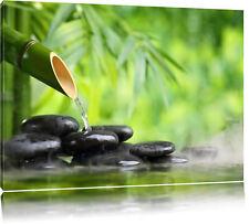 Bambusbrunnen mit Steinen  Leinwandbild Wanddeko Kunstdruck