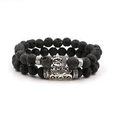 2Pcs Charm Mens Beaded Bracelet Handmade Bead Lava Stone Silver Buddha Head