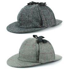 Cappello Deerstalker Cappello Sherlock Holmes A Spina Di Pesce Tweed Grigio Berretto Piatto picchi Hawkins