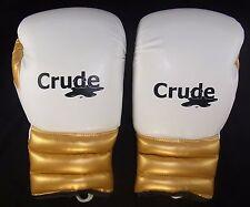 Blanc/or gants de boxe (lacets) fabriqués à partir de pro grade matériau par brut de boxe