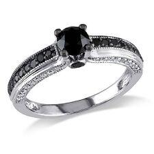10k White Gold 1 1/4 Ct TDW Black and White Round-cut Diamond Ring G-H I2-I3