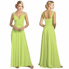 Elegant Rhinestone V-Neck Formal Party Cocktail Bridesmaid Evening Dress L-Green