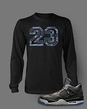 23 T Shirt to Match AIR JORDAN 4 BLACK ROYAL Shoe Pro Club Long Sleeve Black Tee