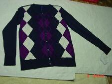 NWT Womens Classic Argyle Cardigan Blue Cream Burgandy Dark Pink Purple Sweater