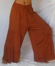 brown pants elastic waist ruffle tiers M L XL 1X 2X 3X 4X PLUS ONE SIZE